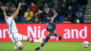 PARIS, FRANCE - OCTOBER 7: Kylian Mbappe of PSG during the french Ligue 1 match between Paris Saint-Germain (PSG) and Olympique Lyonnais (OL, Lyon) at Parc des Princes stadium on October 7, 2018 in Paris, France. (Photo by Jean Catuffe/Getty Images)
