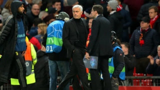 MANCHESTER, ENGLAND - OCTOBER 23:  Manchester United Head Coach / Manager Jose Mourinho walks off at the end of the Group H match of the UEFA Champions League between Manchester United and Juventus at Old Trafford on October 23, 2018 in Manchester, United Kingdom. (Photo by Robbie Jay Barratt - AMA/Getty Images)