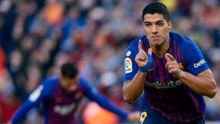 BARCELONA, SPAIN - OCTOBER 28: Luis Suarez of FC Barcelona celebrates a goal after scoring during the La Liga match between FC Barcelona and Real Madrid CF at Camp Nou on October 28, 2018 in Barcelona, Spain. (Photo by David Aliaga/MB Media/Getty Images)
