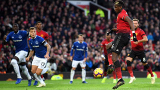 MANCHESTER, ENGLAND - OCTOBER 28:  Paul Pogba of Manchester United scores his team's first goal on the rebound of a missed penalty during the Premier League match between Manchester United and Everton FC at Old Trafford on October 28, 2018 in Manchester, United Kingdom.  (Photo by Michael Regan/Getty Images)