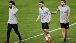 SEVILLE, SPAIN - NOVEMBER 20:  (L-R) Mahamed Salah of Liverpool FC, Alberto Moreno of Liverpool FC and Adam Lallana of Liverpool FC looks on during the training session prior to their Champions League match against Sevilla FC at Estadio Ramon SAnchez Pizjuan on November 20, 2017 in Seville, Spain.  (Photo by Aitor Alcalde/Getty Images)