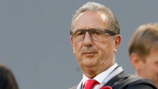 BUDAPEST, HUNGARY - MAY 23: Hungarian national team's head coach Georges Leekens waits for the kick-off prior to the Hungarian Cup Final match between Puskas Akademia FC and Ujpest FC at Groupama Arena on May 23, 2018 in Budapest, Hungary. (Photo by Laszlo Szirtesi/Getty Images)