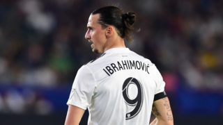 Zlatan Ibrahimovic of LA Galaxy looks on during the Major League Soccer match between Atlanta United and LA Galaxy in Carson, California on April 21, 2018. (Photo by Frederic J. BROWN / AFP)