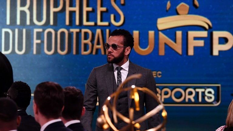 Paris Saint-Germain's Brazilian defender Dani Alves stands during a TV show on May 13, 2018 in Paris, as part of the 27th edition of the UNFP (French National Professional Football players Union) trophy ceremony. (Photo by FRANCK FIFE / AFP)