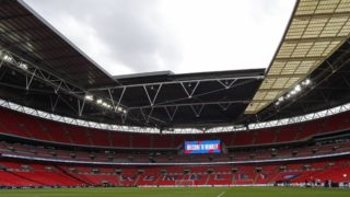 The inside of the stadium seen from pitch-side ahead of the UEFA Nations League football match between England and Spain at Wembley Stadium in London on September 8, 2018. (Photo by Adrian DENNIS / AFP) / NOT FOR MARKETING OR ADVERTISING USE / RESTRICTED TO EDITORIAL USE