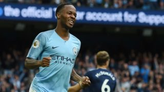 Manchester City's English midfielder Raheem Sterling celebrates after scoring their third goal during the English Premier League football match between Manchester City and Fulham at the Etihad Stadium in Manchester, north west England, on September 15, 2018. (Photo by Paul ELLIS / AFP) / RESTRICTED TO EDITORIAL USE. No use with unauthorized audio, video, data, fixture lists, club/league logos or 'live' services. Online in-match use limited to 120 images. An additional 40 images may be used in extra time. No video emulation. Social media in-match use limited to 120 images. An additional 40 images may be used in extra time. No use in betting publications, games or single club/league/player publications. /