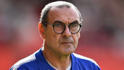 Chelsea's Italian head coach Maurizio Sarri watches his players warm up ahead the English Premier League football match between Southampton and Chelsea at St Mary's Stadium in Southampton, southern England on October 7, 2018. (Photo by Glyn KIRK / AFP) / RESTRICTED TO EDITORIAL USE. No use with unauthorized audio, video, data, fixture lists, club/league logos or 'live' services. Online in-match use limited to 120 images. An additional 40 images may be used in extra time. No video emulation. Social media in-match use limited to 120 images. An additional 40 images may be used in extra time. No use in betting publications, games or single club/league/player publications. /