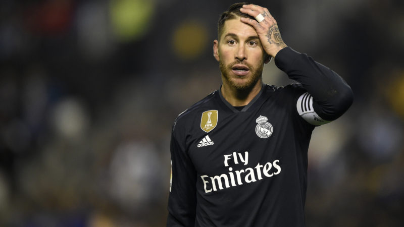 Real Madrid's Spanish defender Sergio Ramos gestures during the Spanish league football match between RC Celta de Vigo and Real Madrid CF at the Balaidos stadium in Vigo on November 11, 2018. (Photo by MIGUEL RIOPA / AFP)