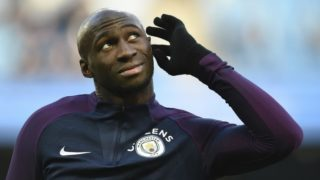 Manchester City's French defender Eliaquim Mangala warms up for the English FA Cup third round football match between Manchester City and Burnley at Etihad Stadium in Manchester, north west England on January 6, 2018. (Photo by Oli SCARFF / AFP) / RESTRICTED TO EDITORIAL USE. No use with unauthorized audio, video, data, fixture lists, club/league logos or 'live' services. Online in-match use limited to 75 images, no video emulation. No use in betting, games or single club/league/player publications. /