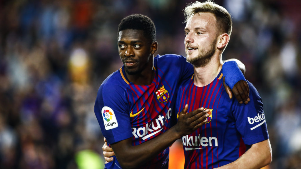 11 Ousmane Dembele from France of FC Barcelona celebrating his goal with 04 Ivan Rakitic from Croatia of FC Barcelona  during the  La Liga football match between FC Barcelona v Villarreal CF at Camp Nou Stadium in Spain on May 9 of 2018. (Photo by Xavier Bonilla/NurPhoto)