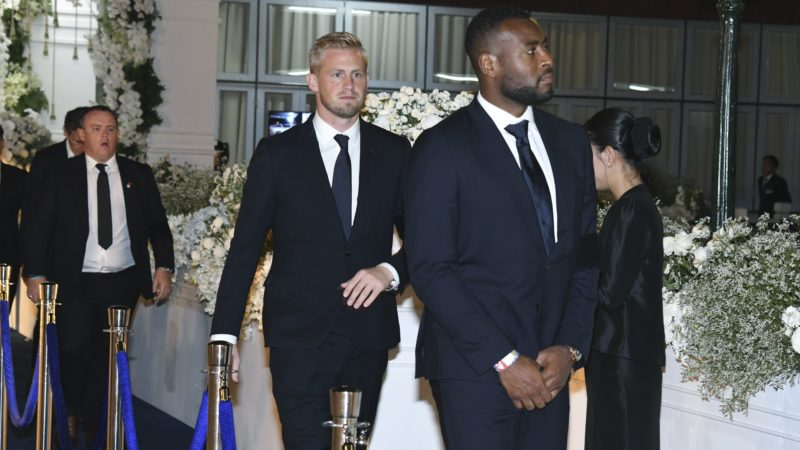 Leicester City's player Kasper Schmeichel, and Wes Morgan, leave after attending the funeral Thai businessman Vichai Srivaddhanaprabha's funeral in Bangkok, Thailand November 5, 2018. Photo by King Power (Photo by Anusak Laowilas/NurPhoto)