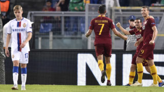 Edin Dzeko of AS Roma celebrates scoring second goal during the UEFA Champions League group stage match between Roma and CSKA Moscow at Stadio Olimpico, Rome, Italy on 23 October 2018.  (Photo by Giuseppe Maffia/NurPhoto via Getty Images)