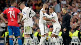MADRID, SPAIN - OCTOBER 23: (L-R) Karim Benzema of Real Madrid, Mariano of Real Madrid during the UEFA Champions League  match between Real Madrid v Viktoria Plzen at the Santiago Bernabeu on October 23, 2018 in Madrid Spain (Photo by David S. Bustamante/Soccrates /Getty Images)