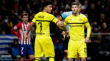 MADRID, SPAIN - NOVEMBER 6: Antoine Griezmann of Atletico Madrid, Jadon Sancho of Borussia Dortmund, Christian Pulisic of Borussia Dortmund during the UEFA Champions League  match between Atletico Madrid v Borussia Dortmund at the Estadio Wanda Metropolitano on November 6, 2018 in Madrid Spain (Photo by David S. Bustamante/Soccrates/Getty Images)