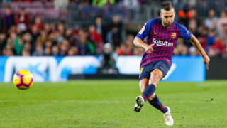 FC Barcelona defender Jordi Alba (18) during the match FC Barcelona against Real Betis Balompie, for the round 12 of the Liga Santander, played at Camp Nou  on 11th November 2018 in Barcelona, Spain.(Photo by Urbanandsport/NurPhoto via Getty Images)