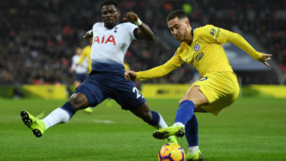 LONDON, ENGLAND - NOVEMBER 24:  Eden Hazard of Chelsea is challenged by Serge Aurier of Tottenham Hotspur during the Premier League match between Tottenham Hotspur and Chelsea FC at Tottenham Hotspur Stadium on November 24, 2018 in London, United Kingdom.  (Photo by David Ramos/Getty Images)