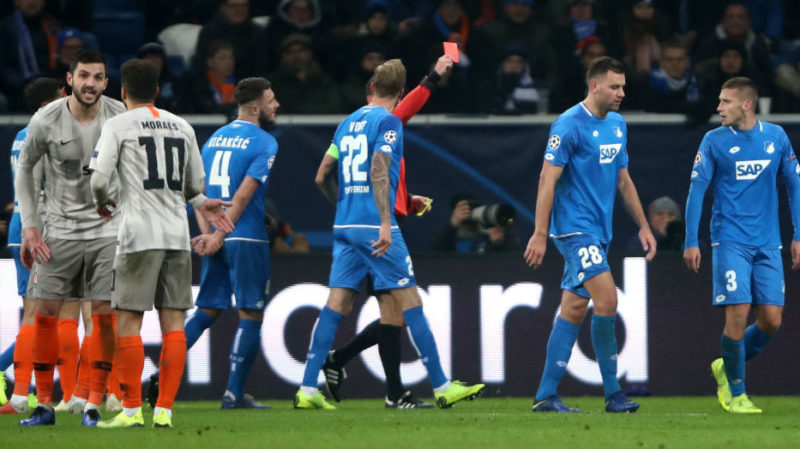 SINSHEIM, GERMANY - NOVEMBER 27:  Adam Szalai of 1899 Hoffenheim (28) is shown a red card and is sent off during the UEFA Champions League Group F match between TSG 1899 Hoffenheim and FC Shakhtar Donetsk at Wirsol Rhein-Neckar-Arena on November 27, 2018 in Sinsheim, Germany.  (Photo by Alex Grimm/Bongarts/Getty Images,)