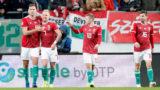 BUDAPEST, HUNGARY - NOVEMBER 15: (l-r) Adam Szalai of Hungary celebrates his goal with Balazs Dzsudzsak of Hungary next to Istvan Kovacs of Hungary #10 and Mate Patkai of Hungary # 16 during the UEFA Nations League group stage match between Hungary and Estonia at Groupama Arena on November 15, 2018 in Budapest, Hungary. (Photo by Laszlo Szirtesi/Getty Images)