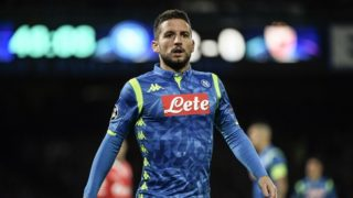 Napoli's Belgian forward Dries Mertens looks on during the UEFA Champions League group C football match Napoli vs Red Star Belgrade on November 28, 2018 at the San Paolo stadium in Naples. (Photo by Filippo MONTEFORTE / AFP)