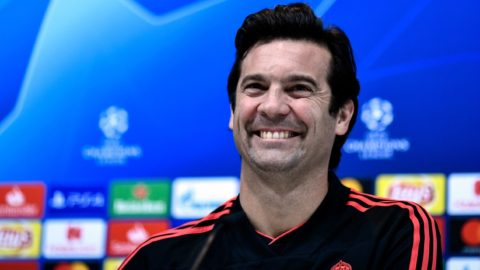 Real Madrid's Argentinian coach Santiago Solari gives a press conference at the Ciudad Real Madrid training facilities at Madrid's suburb of Valdebebas on December 11, 2018, on the eve of the UEFA Champions League group G football match Real Madrid CF against PFC CSKA Moscow. (Photo by OSCAR DEL POZO / AFP)