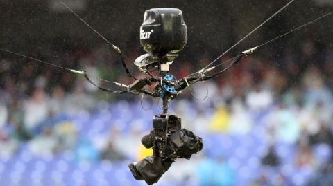 BALTIMORE, MARYLAND - DECEMBER 16: A television camera hangs above the field during the Baltimore Ravens and Tampa Bay Buccaneers game at M&T Bank Stadium on December 16, 2018 in Baltimore, Maryland.   Rob Carr/Getty Images/AFP