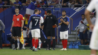 Antoine Griezmann of France out and Nabil Fekir of France in during the 2018 Friendly Game football match between France and USA on June 9, 2018 at Groupama stadium in Decines-Charpieu near Lyon, France - Photo Romain Biard / Isports / DPPI