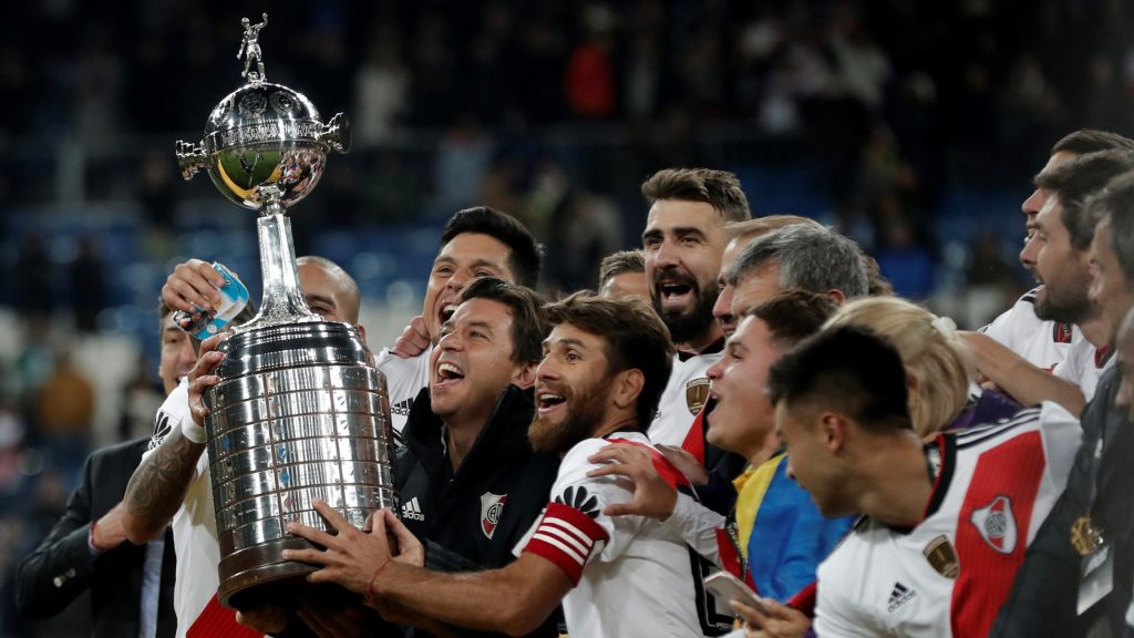MADRID, SPAIN - DECEMBER 09:  The River Plate players celebrate at the end of the second leg of the final match of Copa Libertadores soccer match between River Plate vs Boca Juniors at the Santiago Bernabeu Stadium in Madrid, Spain on December 09, 2018. Burak Akbulut / Anadolu Agency