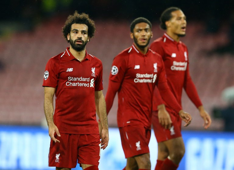 SSC Napoli v FC Liverpool - UEFA Champions League Group C Mohamed Salah, Joe Gomez and Virgil Van Dijk of Liverpool at San Paolo Stadium in Naples, Italy on October 3, 2018.  (Photo by Matteo Ciambelli/NurPhoto)