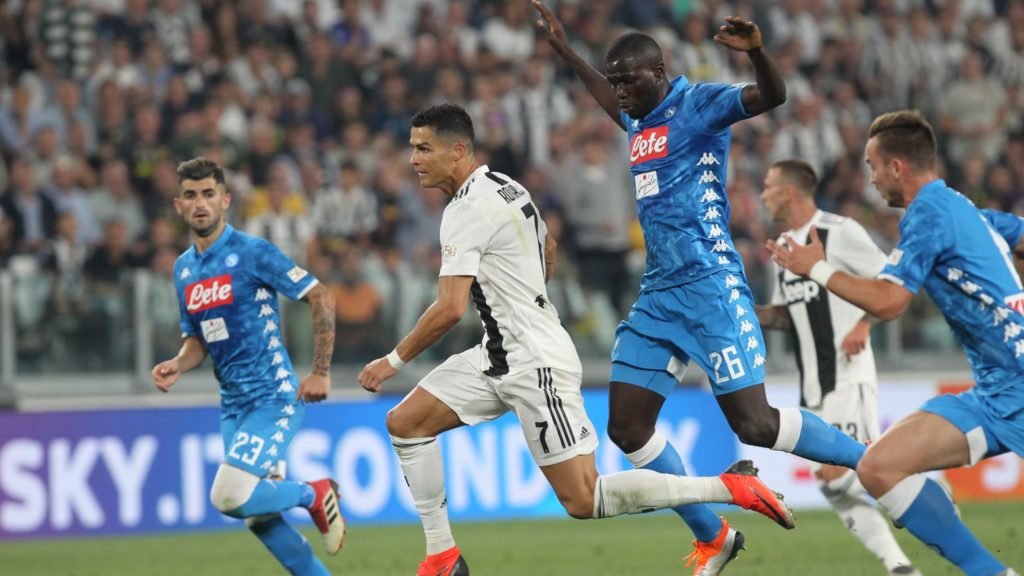 Cristiano Ronaldo (Juventus FC) and Kalidou Koulibaly (SSC Napoli) during the Serie A football match between Juventus FC and SSC Napoli at Allianz Stadium on September 29, 2018 in Turin, Italy.  (Photo by Massimiliano Ferraro/NurPhoto)