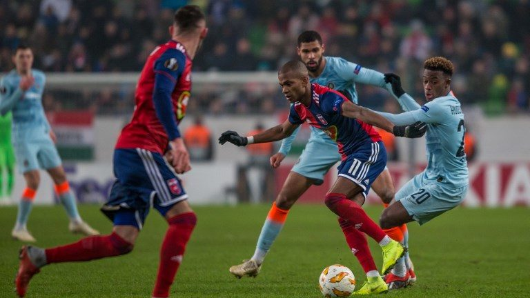 Loic Nego (L) in action during the UEFA Europa League Group L match between MOL Vidi FC and Chelsea FC at Groupama stadium on Dec 13, 2018 in Budapest, Hungary. (Photo by Robert Szaniszló/NurPhoto)