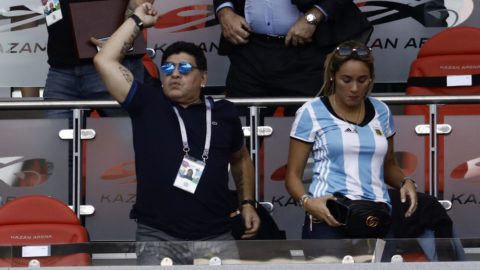 Diego Maradona and Rocio Oliva during the 2018 FIFA World Cup Russia Round of 16 match between France and Argentina at Kazan Arena on June 30, 2018 in Kazan, Russia. (Photo by Mehdi Taamallah / Nurphoto)