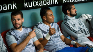 BILBAO, SPAIN - SEPTEMBER 15: Nacho Fernandez of Real Madrid, Keylor Navas of Real Madrid and Isco Alarcon of Real Madrid gesture prior to the La Liga match between Athletic Club and Real Madrid CF at San Mames Stadium on September 15, 2018 in Bilbao, Spain. (Photo by TF-Images/Getty Images)
