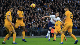 LONDON, ENGLAND - DECEMBER 29:  Harry Kane of Tottenham Hotspur scores his team's first goal during the Premier League match between Tottenham Hotspur and Wolverhampton Wanderers at Tottenham Hotspur Stadium on December 29, 2018 in London, United Kingdom.  (Photo by Marc Atkins/Getty Images)