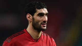 Manchester United's Belgian midfielder Marouane Fellaini leaves the pitch following the UEFA Champions League group H football match between Manchester United and Young Boys at Old Trafford in Manchester, north-west England on November 27, 2018. (Photo by Oli SCARFF / AFP)
