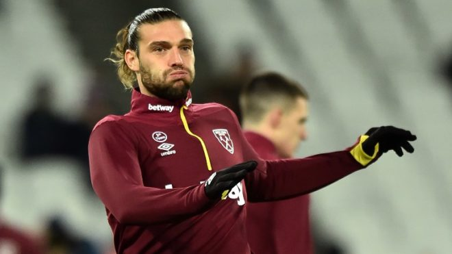 West Ham United's English striker Andy Carroll warms up ahead of the English Premier League football match between West Ham United and Brighton and Hove Albion at The London Stadium, in east London on January 2, 2019. (Photo by Glyn KIRK / AFP) / RESTRICTED TO EDITORIAL USE. No use with unauthorized audio, video, data, fixture lists, club/league logos or 'live' services. Online in-match use limited to 120 images. An additional 40 images may be used in extra time. No video emulation. Social media in-match use limited to 120 images. An additional 40 images may be used in extra time. No use in betting publications, games or single club/league/player publications. /