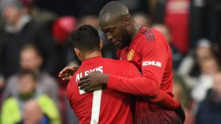 Manchester United's Belgian striker Romelu Lukaku (R) celebrates scoring their second goal during the English FA Cup third round football match between Manchester United and Reading at Old Trafford in Manchester, north west England, on January 5, 2019. (Photo by Oli SCARFF / AFP) / RESTRICTED TO EDITORIAL USE. No use with unauthorized audio, video, data, fixture lists, club/league logos or 'live' services. Online in-match use limited to 120 images. An additional 40 images may be used in extra time. No video emulation. Social media in-match use limited to 120 images. An additional 40 images may be used in extra time. No use in betting publications, games or single club/league/player publications. /