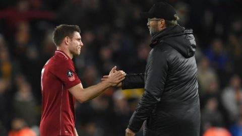 Liverpool's German manager Jurgen Klopp (R) shakes hands with Liverpool's English midfielder James Milner following the English FA Cup third round football match between Wolverhampton Wanderers and Liverpool at the Molineux stadium in Wolverhampton, central England on January 7, 2019. - Wolverhampton won the match 2-1. (Photo by Paul ELLIS / AFP) / RESTRICTED TO EDITORIAL USE. No use with unauthorized audio, video, data, fixture lists, club/league logos or 'live' services. Online in-match use limited to 120 images. An additional 40 images may be used in extra time. No video emulation. Social media in-match use limited to 120 images. An additional 40 images may be used in extra time. No use in betting publications, games or single club/league/player publications. /