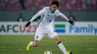 Itakura Kou of Japan dribbles against Thailand in their Group B match during the 2018 AFC U-23 Championship in Jiangyin city, east China's Jiangsu province, 13 January 2018.  Japan moved a step closer to retaining the AFC U23 Championship title after Ko Itakura's 90th minute goal gave them a 1-0 win over Thailand in their Group B clash on Saturday (13 January 2018).