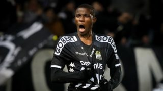 Charleroi's Victor Osimhen celebrates during a soccer match between Sporting Charleroi and Waasland-Beveren, Saturday 26 January 2019 in Charleroi, on the 23rd day of the 'Jupiler Pro League' Belgian soccer championship season 2018-2019. BELGA PHOTO VIRGINIE LEFOUR