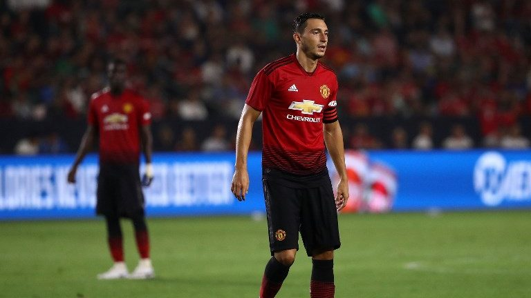 CARSON, CA - JULY 25: Matteo Darmian #36 of Manchester United gets in position during the first half of their International Champions Cup 2018 match against the AC Milan at StubHub Center on July 25, 2018 in Carson, California. Manchester United defeated AC Milan 9-8 on penalties after playing to a 1-1 regulation draw.   Victor Decolongon/Getty Images/AFP