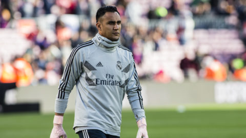 "01 Keylor Navas from Costa Rica of Real Madrid during the Spanish championship La Liga football match ""El Classico"" between FC Barcelona and Real Sociedad on October 28, 2018 at Camp Nou stadium in Barcelona, Spain. (Photo by Xavier Bonilla/NurPhoto)"