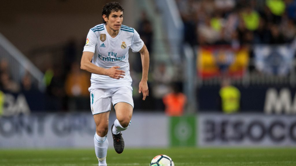 Jesus Vallejo controls the ball during the match between Malaga CF against Real Madrid, week 32 of La Liga 2017/18 in Rosaleda stadium, Malaga, SPAIN - 15th April of 2018. (Photo by Jose Breton/NurPhoto)