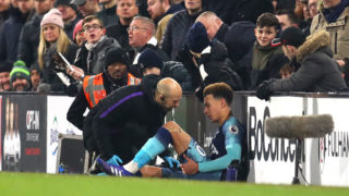 LONDON, ENGLAND - JANUARY 20: Dele Alli of Tottenham reacts to an injury during the Premier League match between Fulham FC and Tottenham Hotspur at Craven Cottage on January 20, 2019 in London, United Kingdom. (Photo by Catherine Ivill/Getty Images)