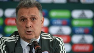 """Argentine coach Gerardo """"Tata"""" Martino speaks during his presentation as new coach of the Mexican national football team, at the High Performance Centre (CAR) on the outskirts of Mexico City on January 7, 2019. (Photo by Pedro PARDO / AFP)"""