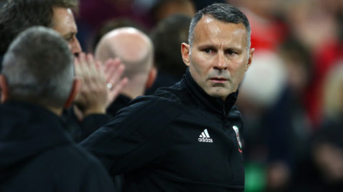 Wales' manager Ryan Giggs arrives for the UEFA Nations League Group B football match between Wales and Denmark at Cardiff City Stadium in Cardiff on November 16, 2018. (Photo by Geoff CADDICK / AFP)