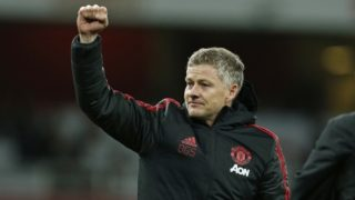 Manchester United's  Norwegian caretaker manager Ole Gunnar Solskjaer celebrates their win on the pitch after the English FA Cup fourth round football match between Arsenal and Manchester United at the Emirates Stadium in London on January 25, 2019. - Manchester United won the game 3-1. (Photo by Ian KINGTON / IKIMAGES / AFP) / RESTRICTED TO EDITORIAL USE. No use with unauthorized audio, video, data, fixture lists, club/league logos or 'live' services. Online in-match use limited to 45 images, no video emulation. No use in betting, games or single club/league/player publications.