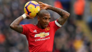 Manchester United's English midfielder Ashley Young takes a throw-in during the English Premier League football match between Leicester City and Manchester United at King Power Stadium in Leicester, central England on February 3, 2019. (Photo by Ben STANSALL / AFP) / RESTRICTED TO EDITORIAL USE. No use with unauthorized audio, video, data, fixture lists, club/league logos or 'live' services. Online in-match use limited to 120 images. An additional 40 images may be used in extra time. No video emulation. Social media in-match use limited to 120 images. An additional 40 images may be used in extra time. No use in betting publications, games or single club/league/player publications. /