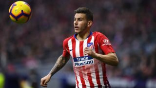 Atletico Madrid's French defender Lucas Hernandez controls the ball during the Spanish league football match between Club Atletico de Madrid and Real Madrid CF at the Wanda Metropolitano stadium in Madrid on February 9, 2019. (Photo by GABRIEL BOUYS / AFP)