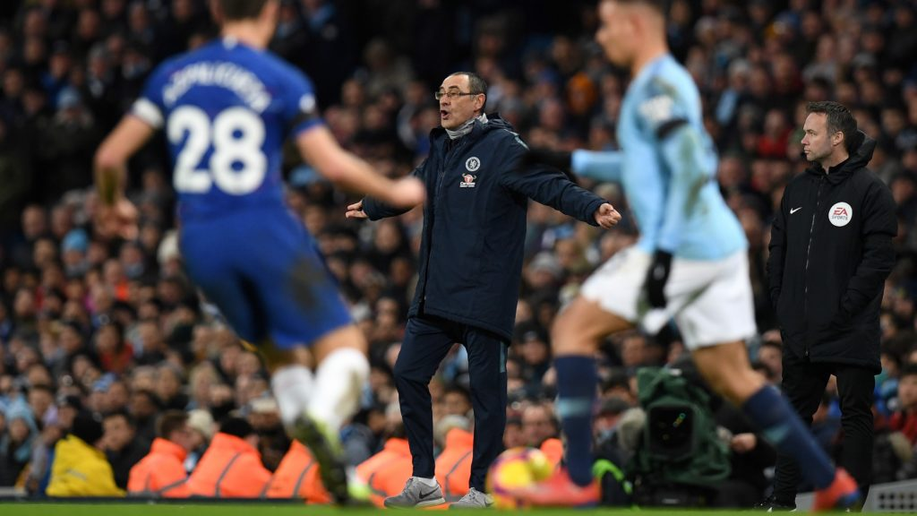 Chelsea's Italian head coach Maurizio Sarri shouts instructions to his players from the touchline during the English Premier League football match between Manchester City and Chelsea at the Etihad Stadium in Manchester, north west England, on February 10, 2019. - Manchester City won the match 6-0. (Photo by Paul ELLIS / AFP) / RESTRICTED TO EDITORIAL USE. No use with unauthorized audio, video, data, fixture lists, club/league logos or 'live' services. Online in-match use limited to 120 images. An additional 40 images may be used in extra time. No video emulation. Social media in-match use limited to 120 images. An additional 40 images may be used in extra time. No use in betting publications, games or single club/league/player publications. /