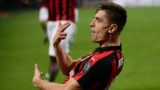 A.C.Milan's forward Krzysztof Piatek from Poland celebrates after scoring during the Italian Serie A football match AC Milan vs Empoli on February 22, 2019 at the San Siro stadium in Milan. (Photo by MARCO BERTORELLO / AFP)